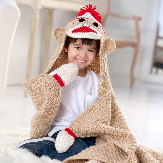 Red Heart Sock Monkey Blanket in color