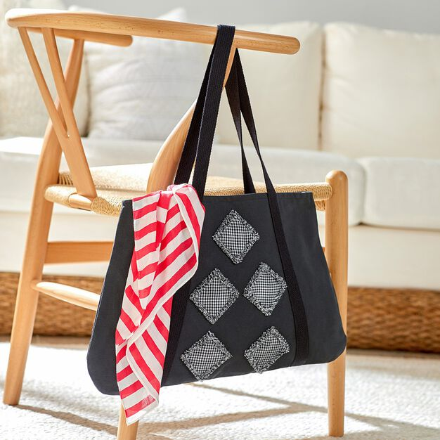 Dual Duty In the Fray Tote with Black and White Frayed Edge Squares in color