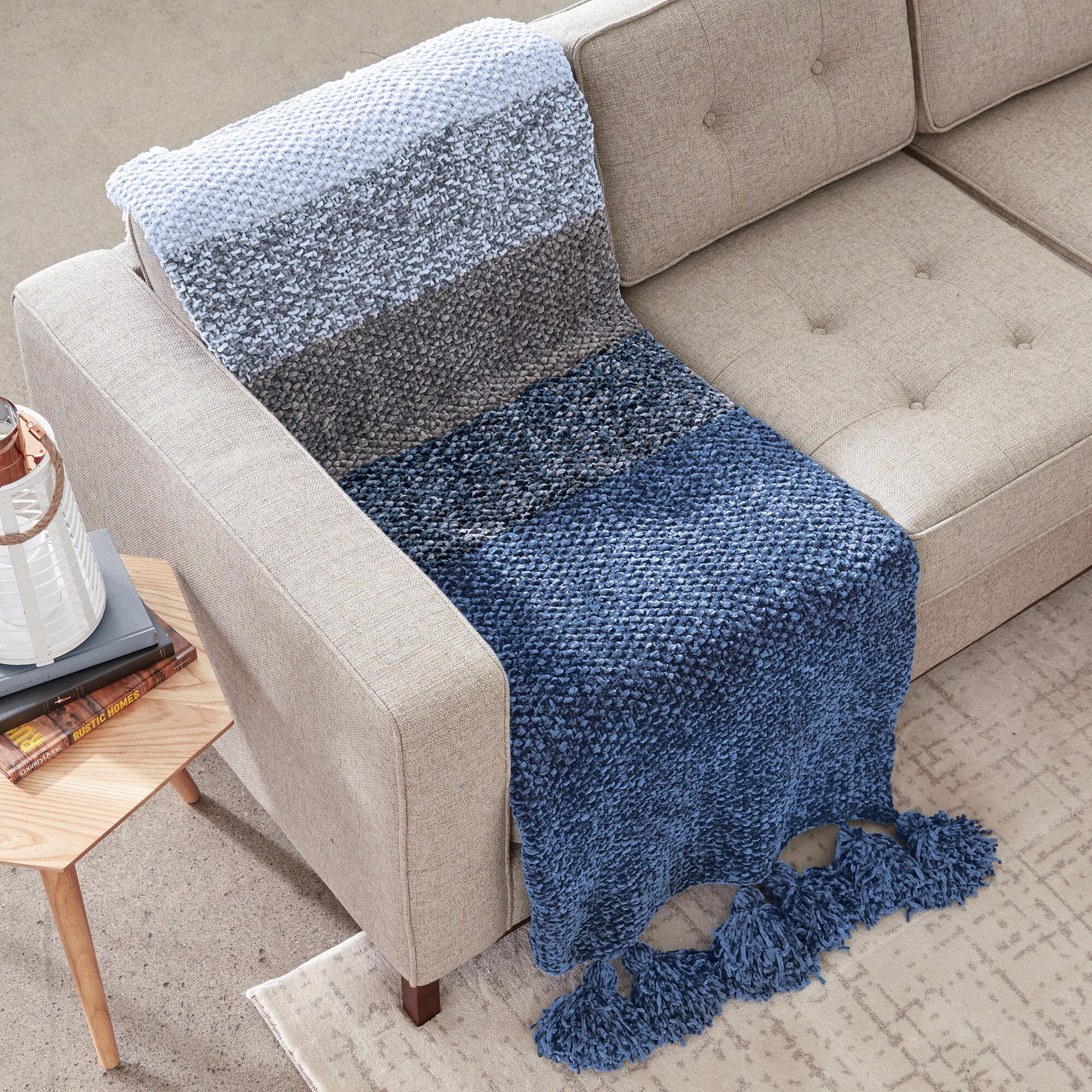 Bernat Blue Velvet Fade Knit Blanket Pattern