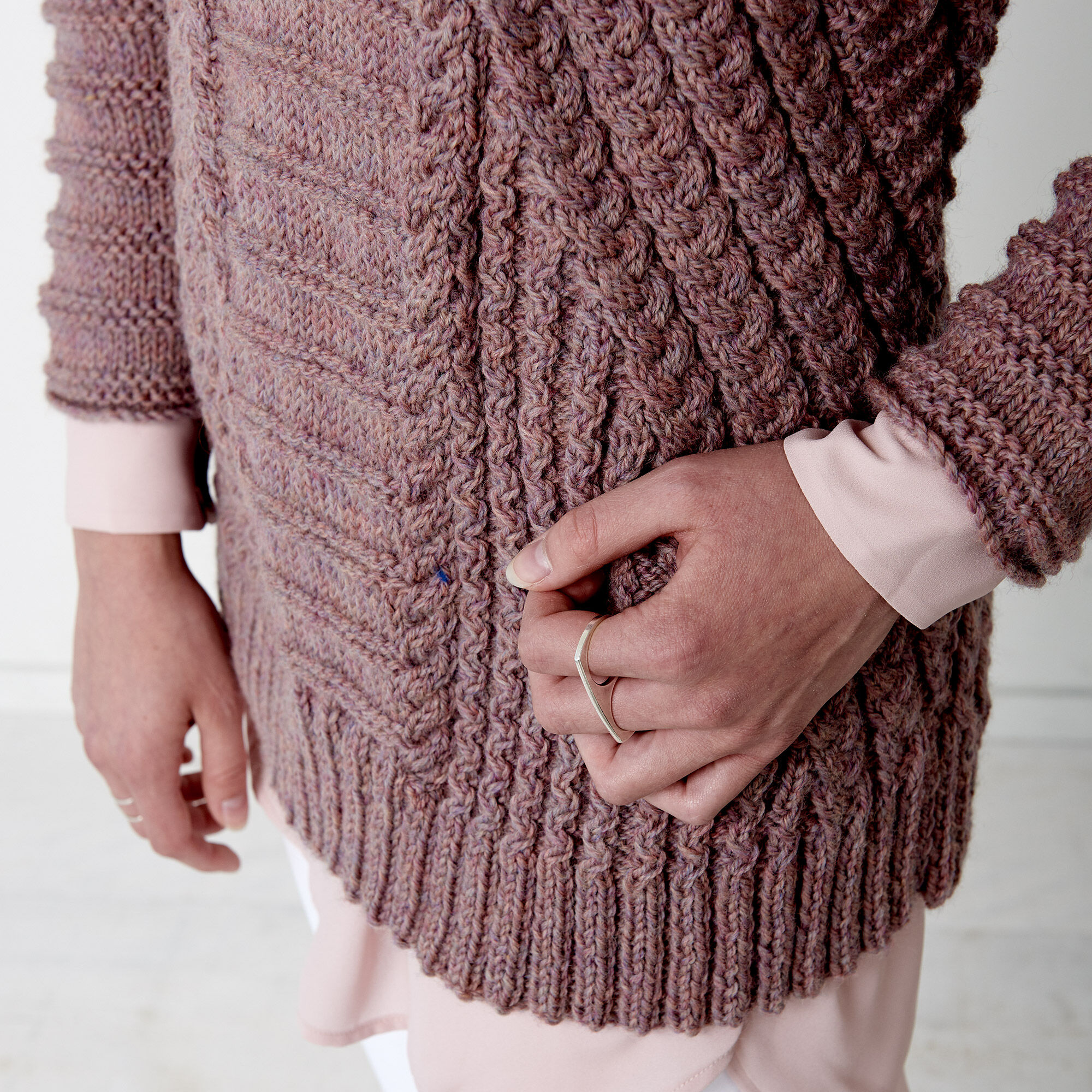 Patons Directional Cables Sweater, XS/M   Yarnspirations