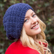 Red Heart Basketweave Sparkle Hat, S