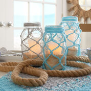 Red Heart Fishnet Jars, Aqua