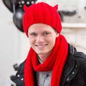 Red Heart Devilish Hat and Scarf, S/M