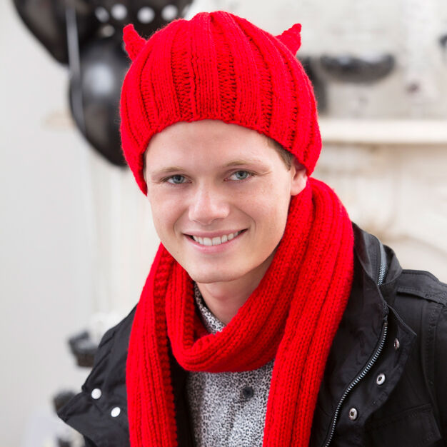 Red Heart Devilish Hat and Scarf, S/M in color