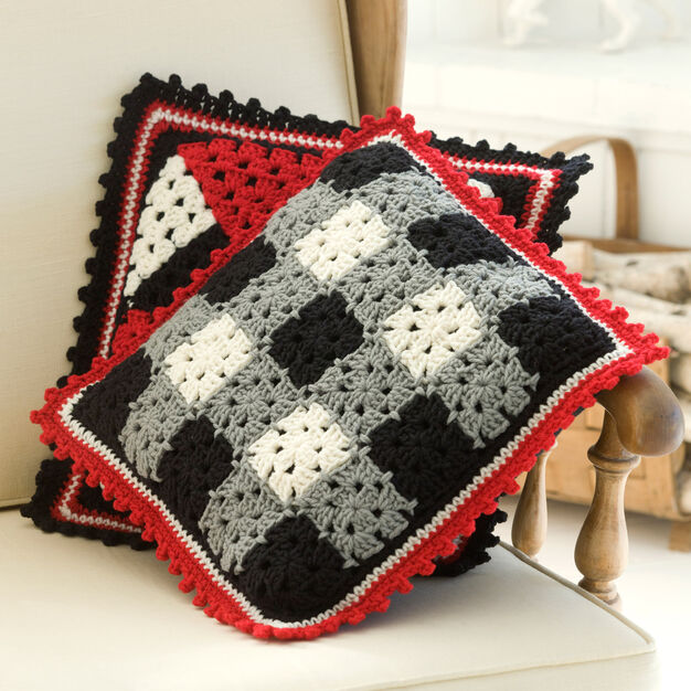 Red Heart Plaid Pillow in color