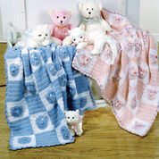 Red Heart Kitties and Bears Blankets
