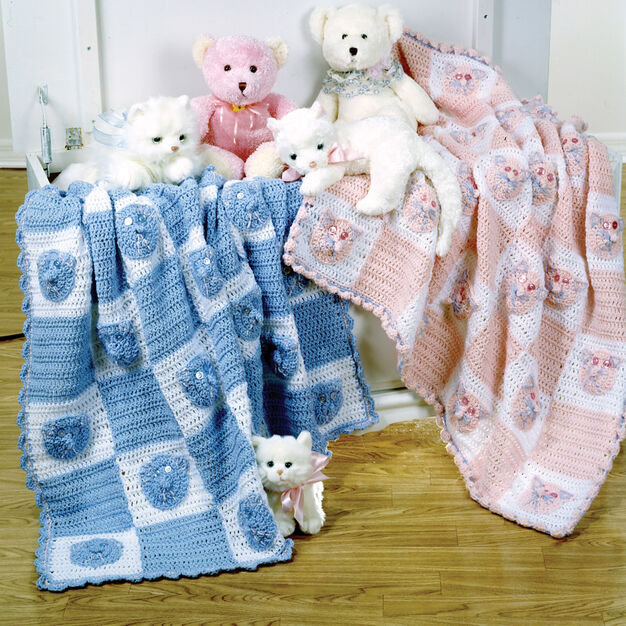 Red Heart Kitties and Bears Blankets in color