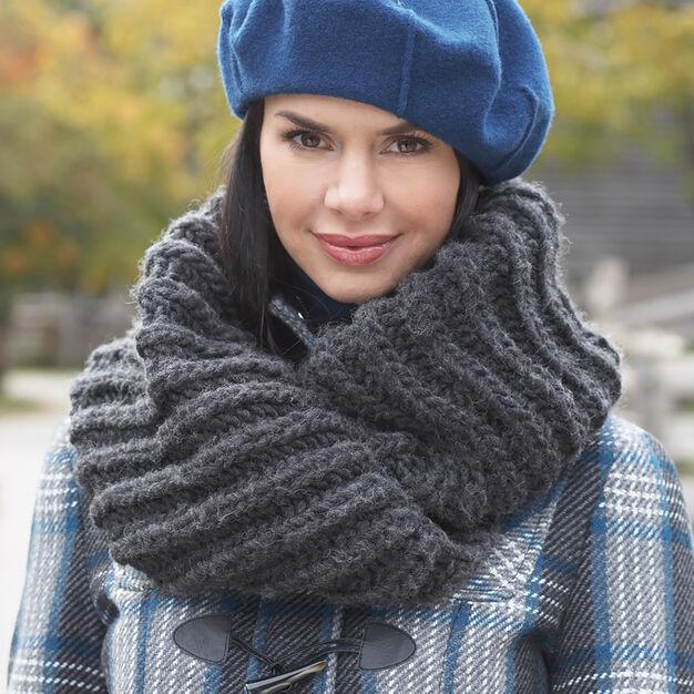 Bernat Mobius Cowl knitting pattern is knit in bulky Bernat roving yarn.