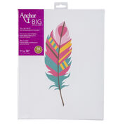 "Go to Product: Anchor Big Stitch Art 11"" x 14"", Feather Teal/Pink in color Feather Teal/Pink"