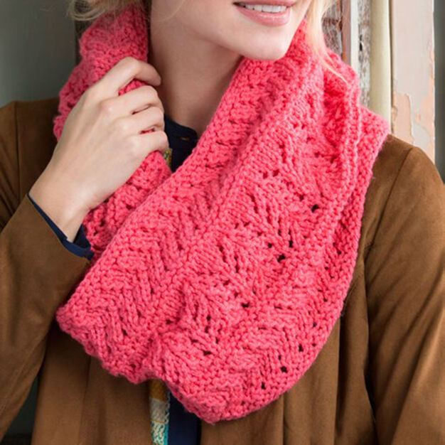 Red Heart Covet This Lacy Cowl in color