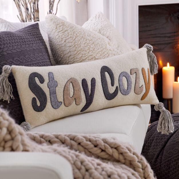 Dual Duty Stay Cozy Pillow with Tassels in color