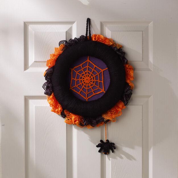 Red Heart Spiderweb Halloween Wreath in color