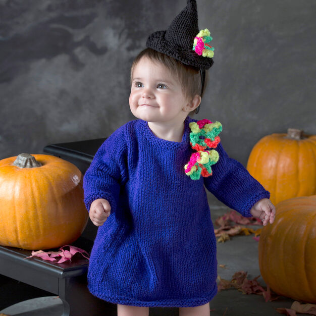 Red Heart Baby Witch Dress & Hat, 6 mos in color