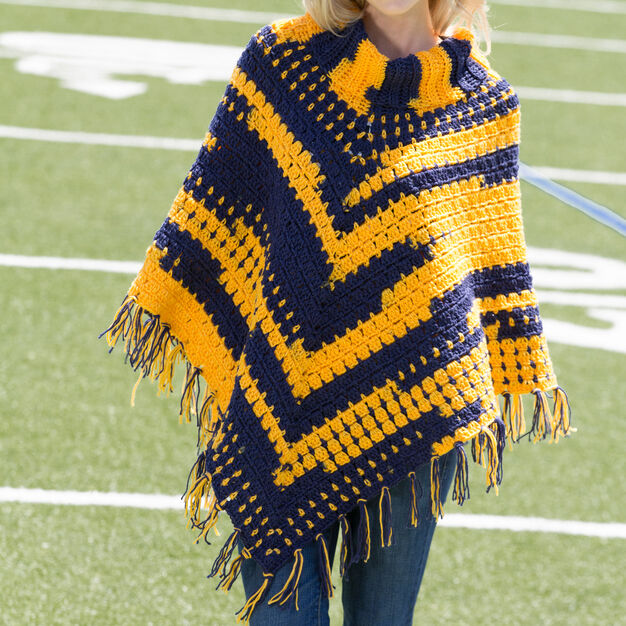 Red Heart Sporty Crochet Poncho, S/M in color
