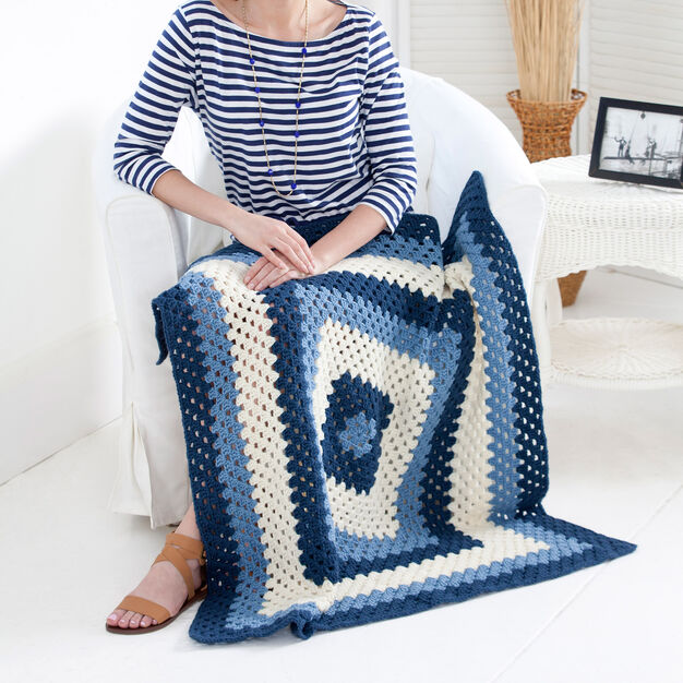 Red Heart Crochet Granny Blues Lapghan in color