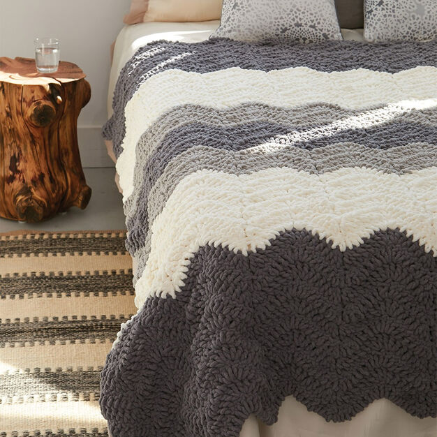 Bernat Grey Scale Blanket in color