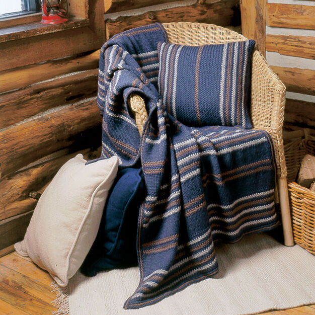 Patons Woven-Look Afghan & Pillow Set, Afghan in color