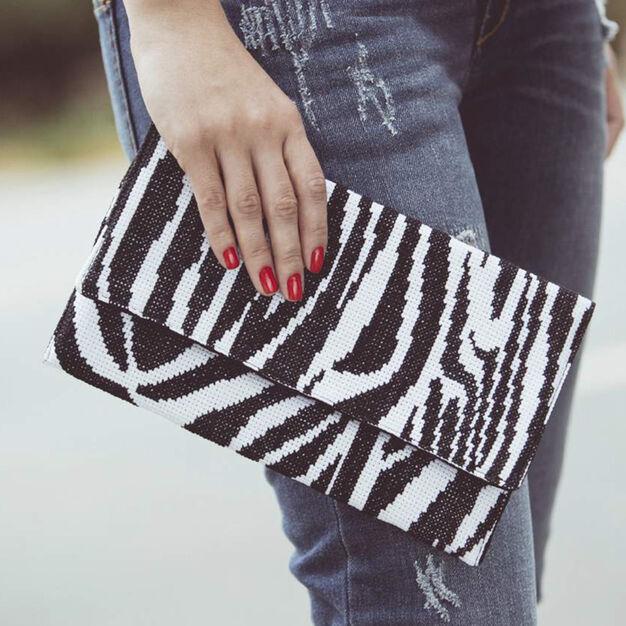 Dual Duty Elegant Zebra Print Cross Stitch Clutch in color