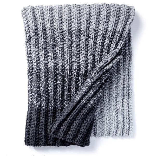 Free Pattern: Ombre Ridge Knit Blanket in Caron One Pound yarn