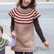 Bernat Striped Yoke Women's Pullover, XS/S