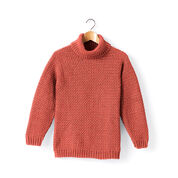 Caron Adult Crochet Turtleneck Pullover, XS/S, Persimmon
