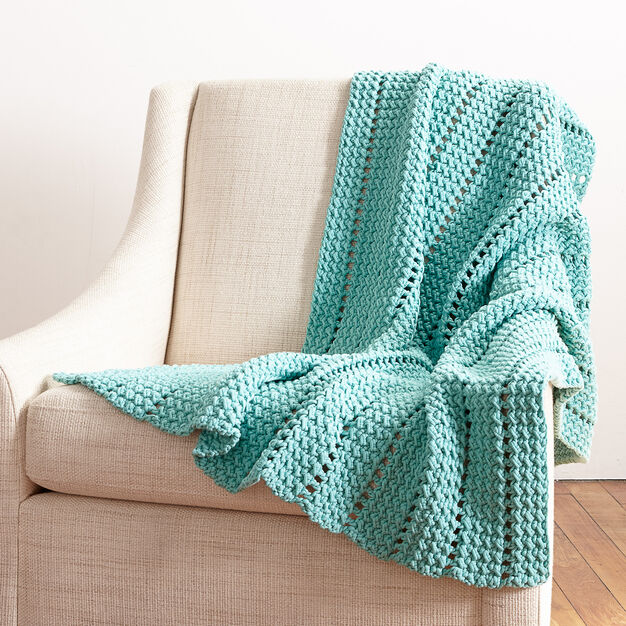 Bernat Eyelets and Textures Blanket in color