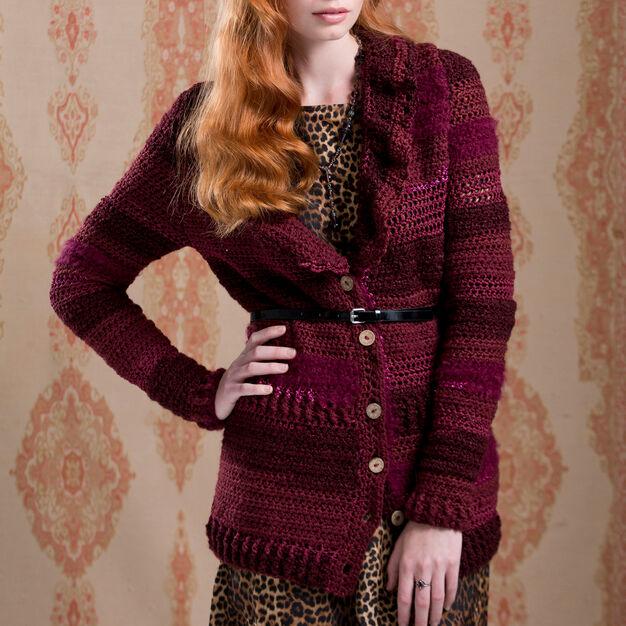 Red Heart Ruffle Collar Cardigan, XS