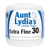 Go to Product: Aunt Lydia's Extra Fine Crochet Thread Size 30, White in color White