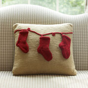 Red Heart Holiday Pillow with Stockings