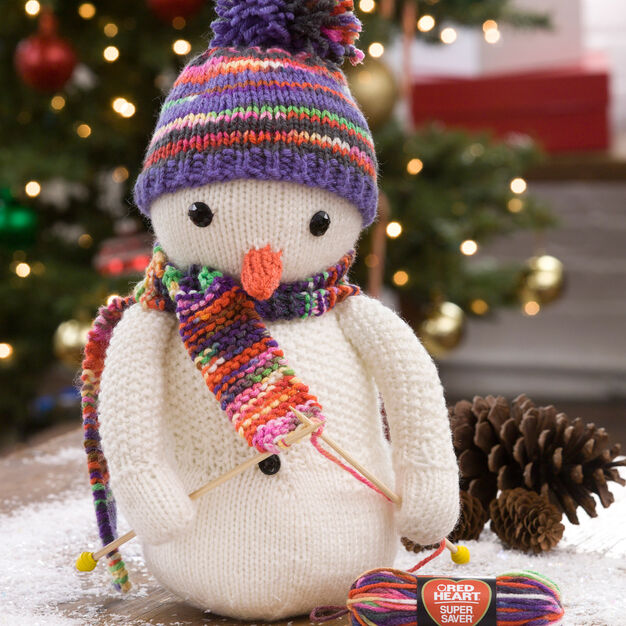 Red Heart Knitting Snowman in color
