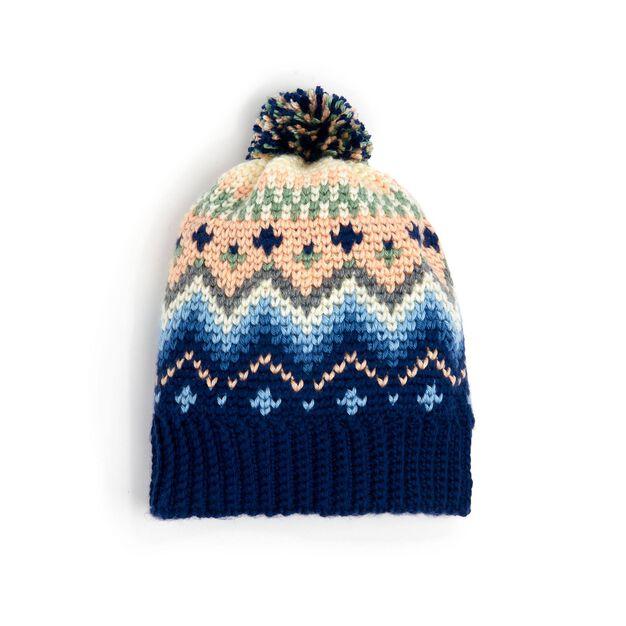 Caron Crochet Fair Isle Hat in color