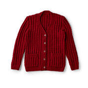 Red Heart Chillin' Out Knit Cardigan, XS