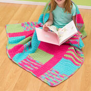 Red Heart Stripes & Blocks Throw