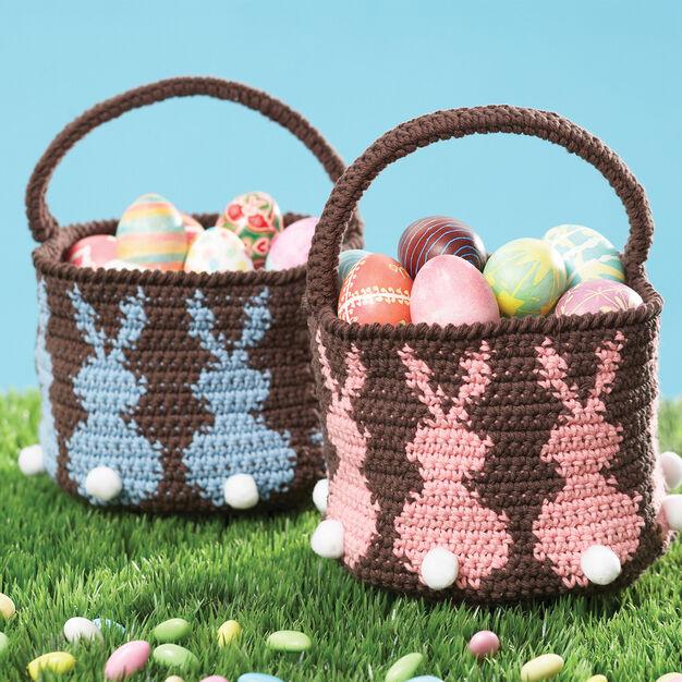 Lily Sugar'n Cream Bunny Basketball, azul'n Cream Bunny Egg Basket, Blue