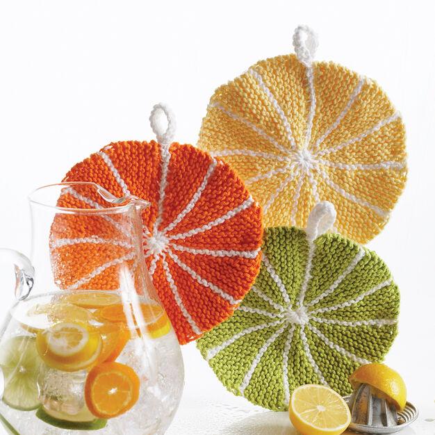 Bernat Citrus Slice Dishcloth, Lemon in color