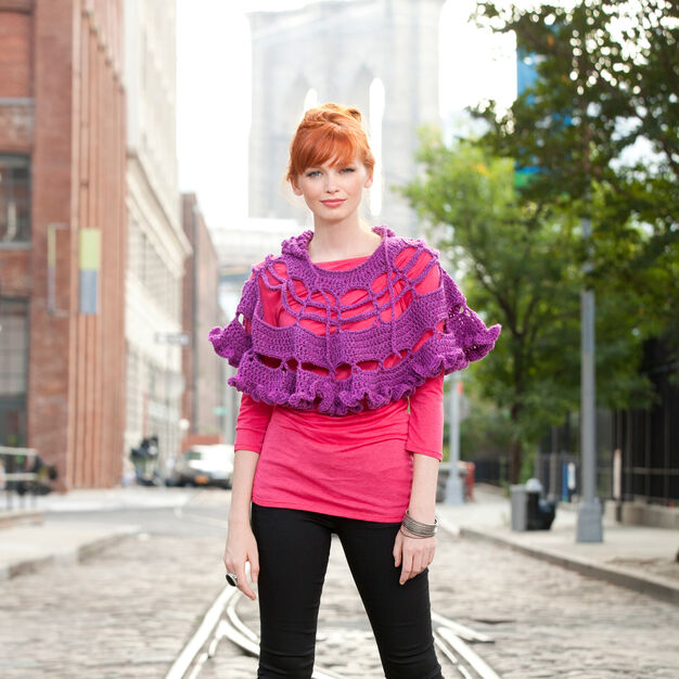 Red Heart Petticoat Poncho in color