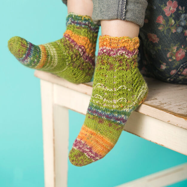 Red Heart Girl's Lacy Socks, 4/8 yrs in color