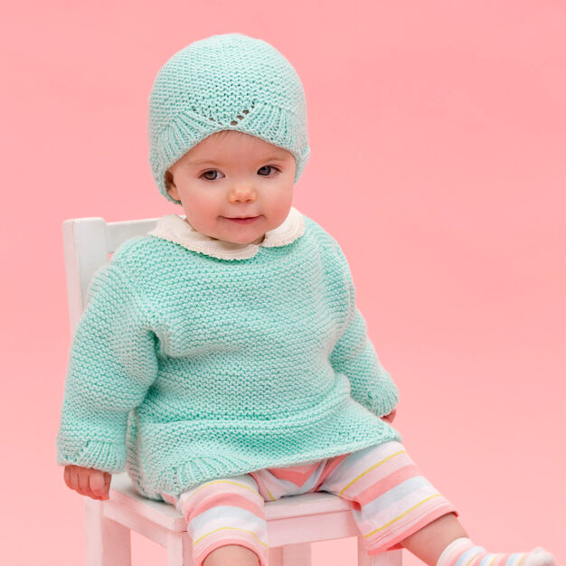 Red Heart Camilla Babe Sweater & Hat, 6 mos