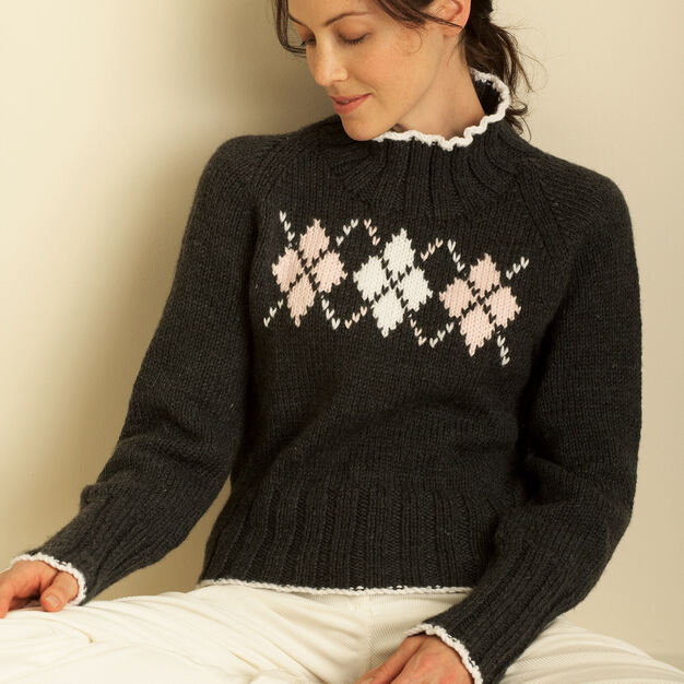 Bernat Argyle Sweater, XS/S in color