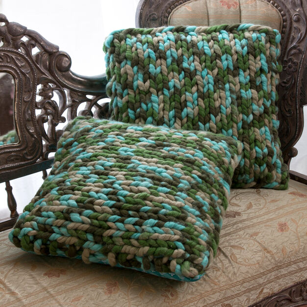 Red Heart On Trend Knit Pillows in color