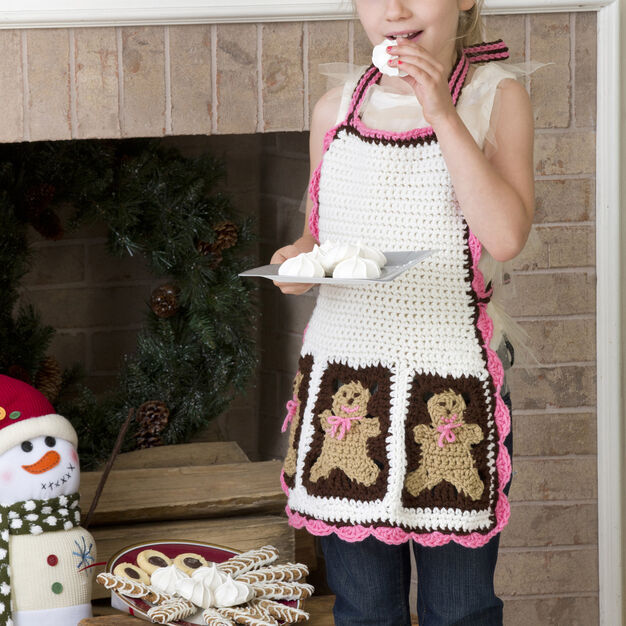 Red Heart Gingerbread Man Apron, 4/6 yrs in color