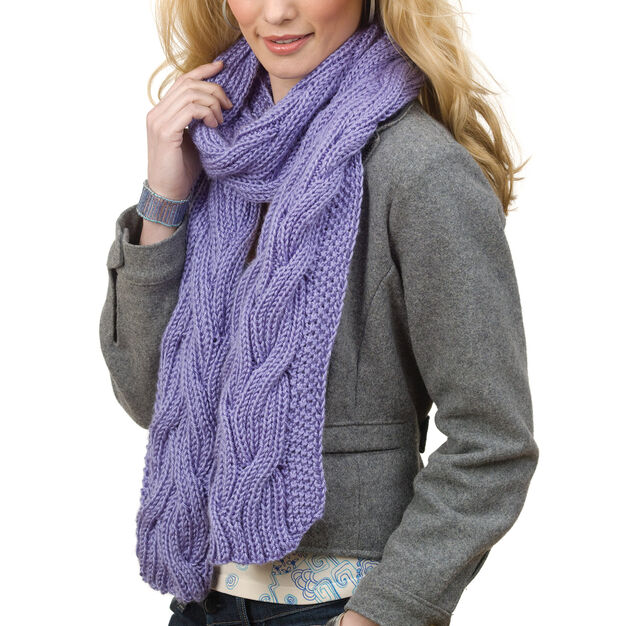 Caron Reversible Cable Rib Scarf in color