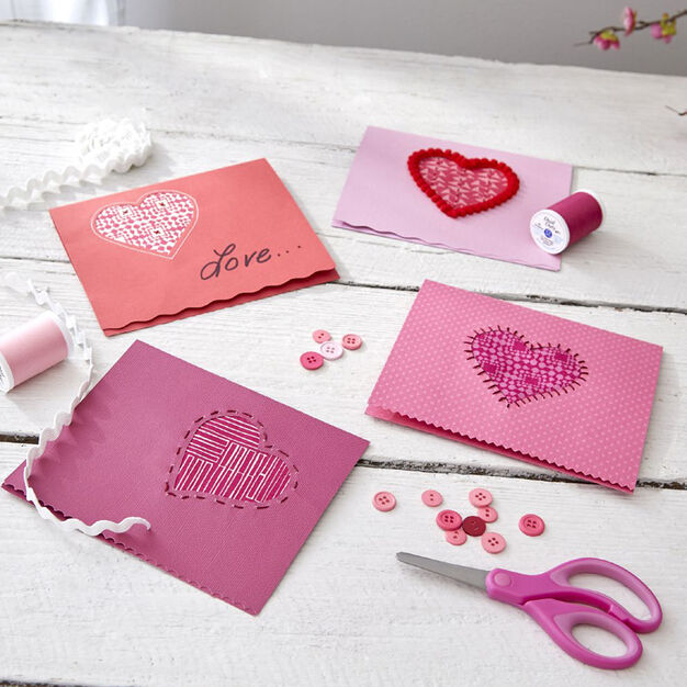 Coats & Clark Valentine Card Party- add fabric and stitching in color