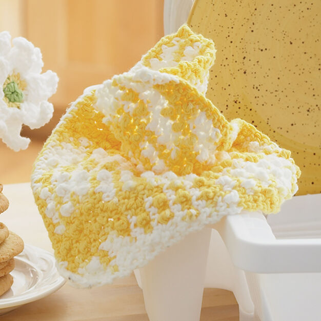 Lily Sugar'n Cream Daisy - Plain Dishcloth in color