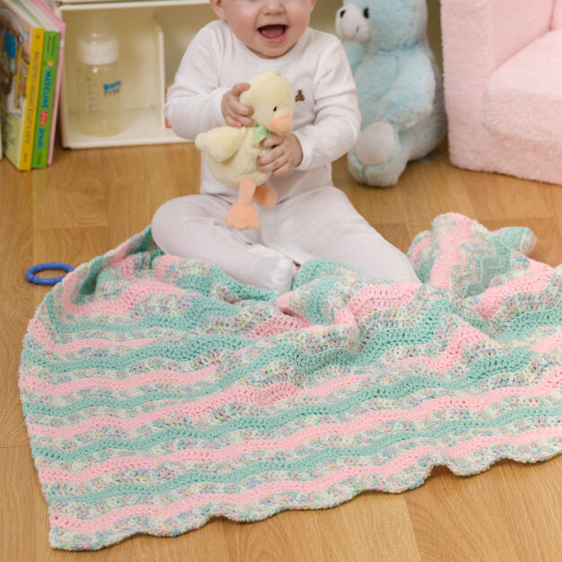 Red Heart Soft Waves Baby Blanket in color