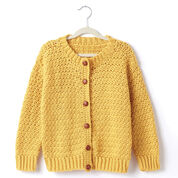 Caron Child's Crochet Crew Neck Cardigan, Grey Heather - Size 2