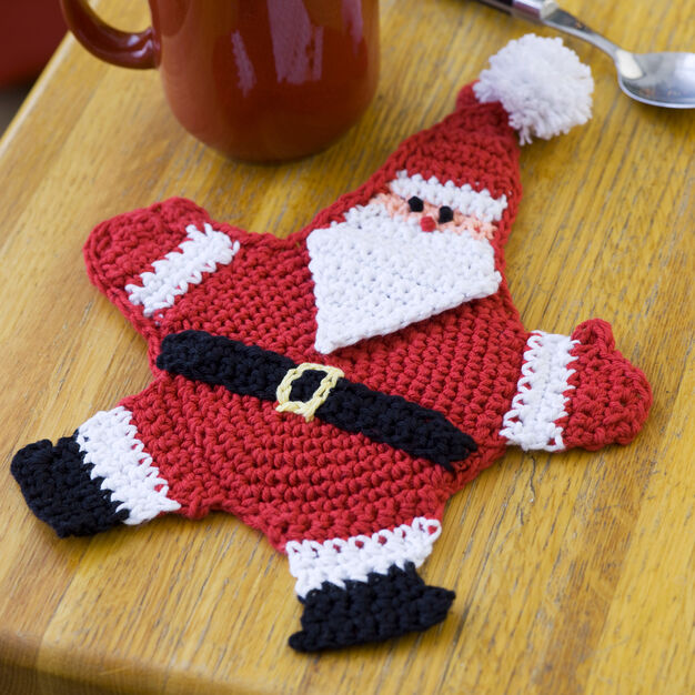 Red Heart Mr. Claus Potholder in color