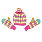 Go to Product: Bernat Polka Dot Hat and Mittens Set, Kids 4-6 yrs in color