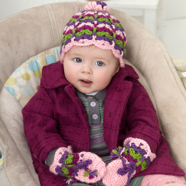 Red Heart Scalloped Baby Hat and Mittens, Baby in color