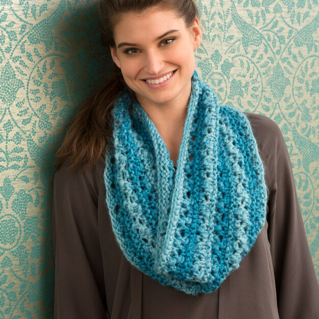 Red Heart One Ball Lace Cowl in color